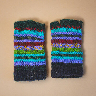 Fair Trade Gringo Knitted Fingerless Wool Gloves Hand Warmers Made In Nepal