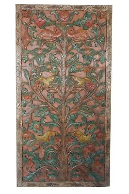 Old World Design Hand Carved Indian Art Relief Panel Interior Door CLEARANCE