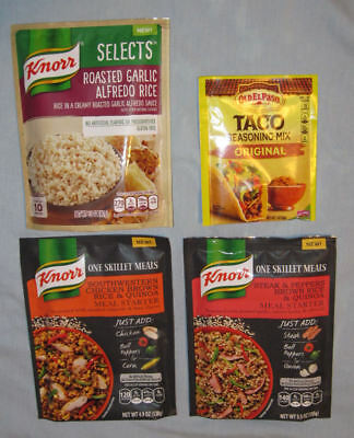 Knorr One Skillet Meals Steak & Peppers, Selects Alfredo Rice, Old El Paso Taco