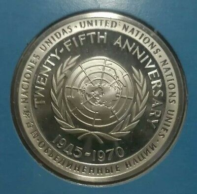 1970 United Nations 25th Anniversary Commemorative Medal Sterling Silver