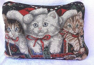"""CHRISTMAS CAT PILLOW Tapestry With 3 Kittens Design 11 1/2"""" by 16"""""""