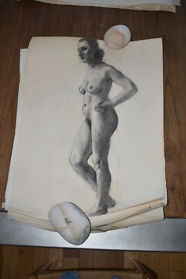 19th Century French Nude Academy Charcoal Drawing #1