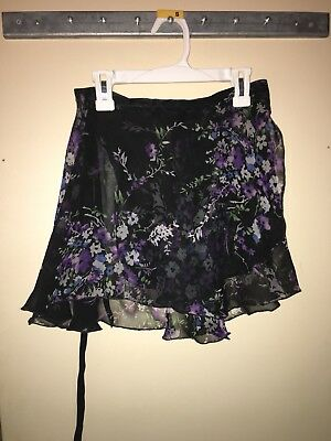 Custom Made Black Floral Ballet Wrap Skirt