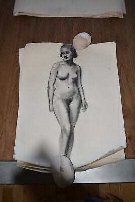 19th Century French Nude Academy Charcoal Drawing #2