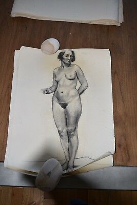 19th Century French Nude Academy Charcoal Drawing #3