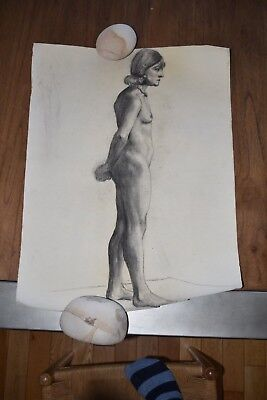19th Century French Nude Academy Charcoal Drawing #4