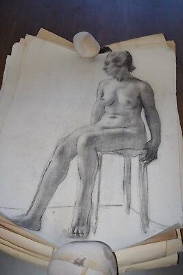 19th Century French Nude Academy Charcoal Drawing #5