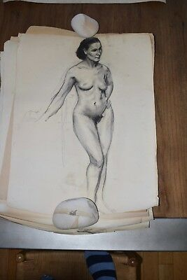 19th Century French Nude Academy Charcoal Drawing #6