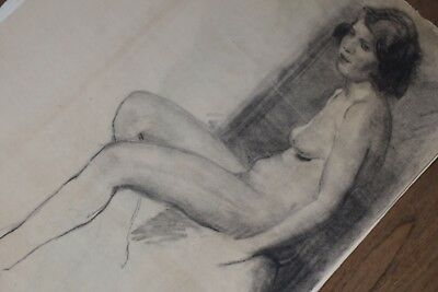 19th Century French Nude Academy Charcoal Drawing #7