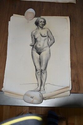 19th Century French Nude Academy Charcoal Drawing #8