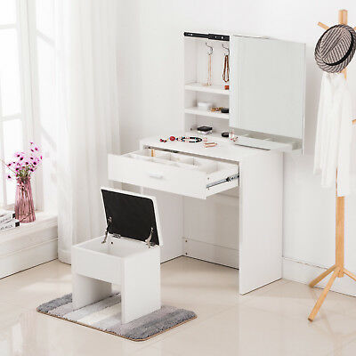 White Sliding Mirror Makeup Vanity Dressing Table Set w/ Storage Stool & Drawer