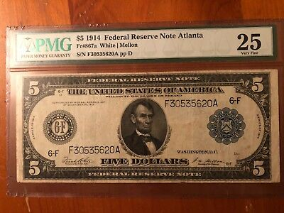 1914 * $5 Fr # 867a * Federal Reserve LARGE Note FRN * PMG Very Fine 25 Currency