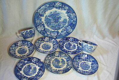 9 Pieces! Vintage ENOCH WOODS Blue / White Transferware ENGLISH SCENERY