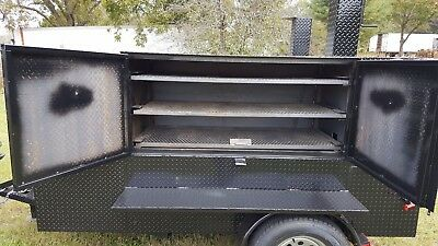 Double RibMaster Propane Assist BBQ Smoker Grill Trailer Food Truck Cart Vendor