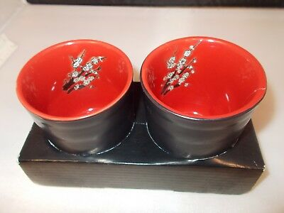 2 Black and Red Asian Fusion Tea Cups Ceramic Floral inside
