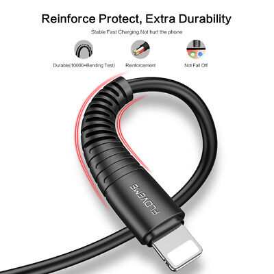 Tensile USB Lightning Charger Data Sync Cable For iPhone Xs Xr MAX 7 6s 5 X