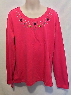 Faded Glory Girl's Bright Pink Long Sleeve Shirt Jewel Accents Size 10x12 VGUC