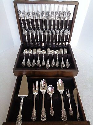 WALLACE GRANDE BAROQUE 79 pcs STERLING SILVER FLATWARE SET FOR 12 & 7 SRVG+CHEST