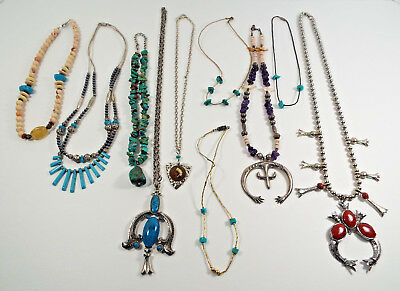 """SOUTHWEST JEWELRY 10 Necklaces 7"""" - 15"""" Estate Lot Beaded Metal Stone Tribal"""