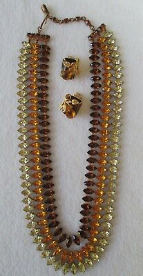 Vintage Austria Crystal Rhinestone Necklace & Earrings Amber Brown Green