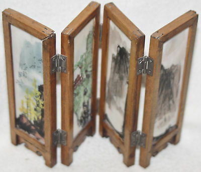 Chinese 1920s Hand Painted Glass Panels Landscape/Fish Miniature Table Screen