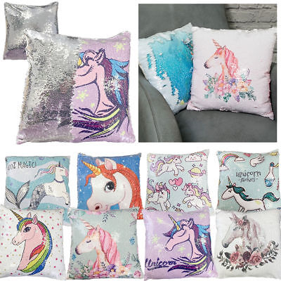 "16"" Magic Reversible Sequin Unicorn Pillow Case Glitter Sofa Cushion Cover Touch"