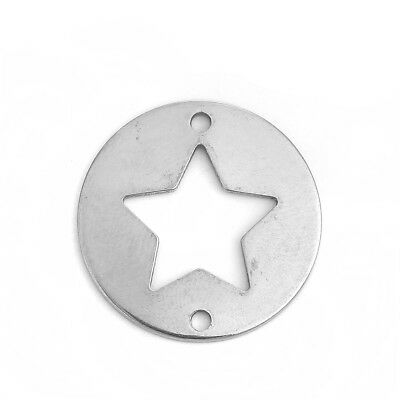 "Stainless Steel Connectors Round Silver Tone Pentagram Star 25mm(1"") Dia. 10 PCs"