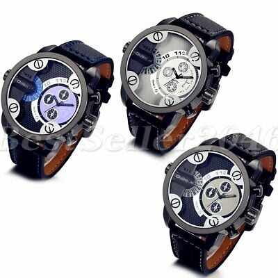 Army Military Men Dual Time Zone Big Dial Leather Band Analog Quartz Wrist Watch