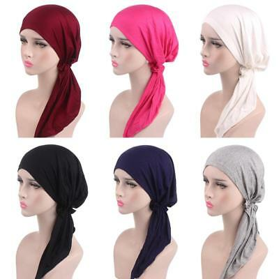 Ladies Stretch Muslim Hair Loss Head Scarf Wrap Turban Cancer Hat Chemo Cap AU