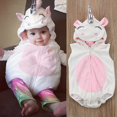 Newborn Toddler Baby Girls Boy Unicorn Rompers Jumpsuit Outfits Cosplay Costume