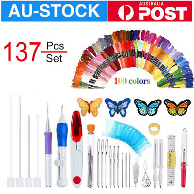 137pcs Magic Embroidery Pen Punch Needle Kit Sewing Knitting Threads Hand Craft