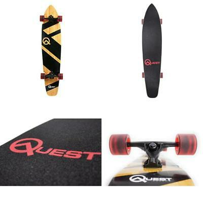 Quest Super Cruiser Professional Longboard Skateboard Hardwood Maple Deck Black