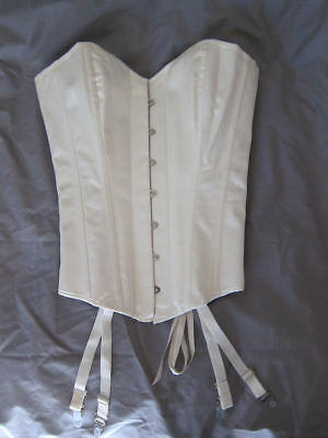 Overbust corset Size M, ivory satin, hook front and lace-up back