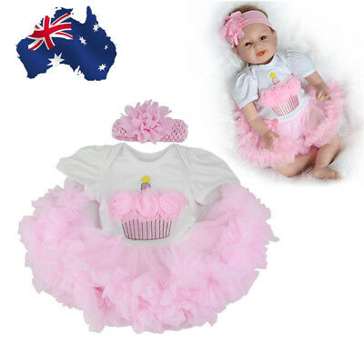 2Pcs Realistic Reborn Girl Doll 22Inch Lifelike Newborn Baby Pink Clothes Fancy