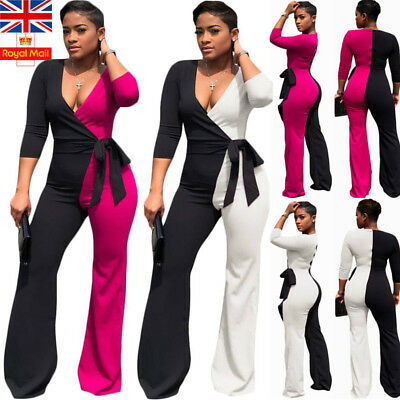 UK Womens V Neck Sexy Jumpsuit Wide Leg Playsuit  Casual Ladies Romper Trousers