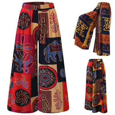 Women Plus Size Printed Elastic Waist Palazzo Pants Culottes Wide Leg Trousers