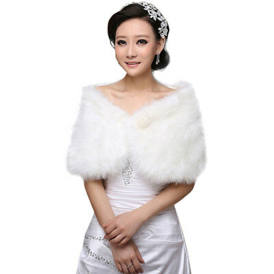 Womens White Faux Fur Bridal Wrap Shawl Stole Cape Wedding Winter Coat Shrug