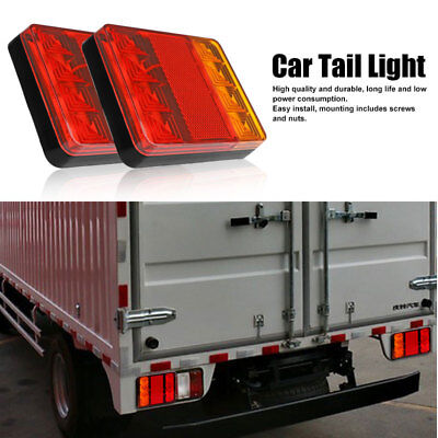 2X 8LED Truck Trailer Taillight Brake Stop Turn Signal Indicator Lights Lamp 12V