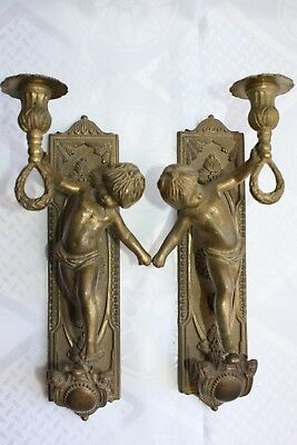 Pair of Large French Antique Figural Bronze Cherub Wall Sconces 19 Century Rare
