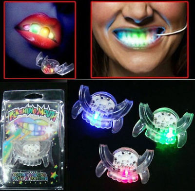 Halloween LED Light up Flashing Mouth Piece Glow Teeth For Party Rave Event Gift