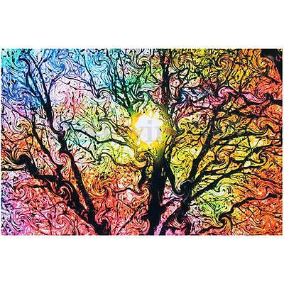 "20"" x 13"" Colorful Psychedelic Trippy Tree Sun Art Silk Cloth Poster Home Decor"