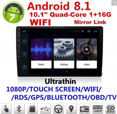 "10.1"" Android 8.1 Car Stereo Quad Core WIFI DAB GPS Nav Radio Video Player"