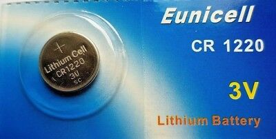 2 x EUNICELL CR1220 3V LITHIUM BUTTON COIN CELL BATTERY, NEW, SEALED