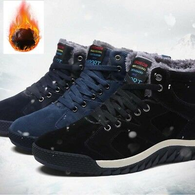 Mens Snow Boots Winter Boots High Top Sneaker Outdoor Non-Slip Shoes Fur Lining