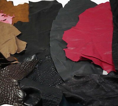 Assorted lambskin scrap leather pieces Large Off-cuts Soft 0.8 - 1.2 mm
