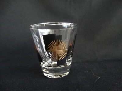 Mid Century Modern Black Rectangles Gold Atomic Starburst Clear Shot Glass