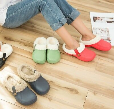 Mens/Womens Fur Lined Cosy Clogs Slip On Winter Sandals Garden Shoes Slippers UK