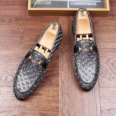 Fashion Mens Woven Faux Leather Slip On Horsebit Loafer Driving Moccasins Shoes
