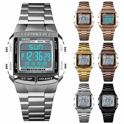 Waterproof Men's Stainless Steel LED Digital Sport Quartz Wrist Watch Gift NEW