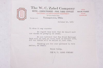 1931 Lamson Goodnow W C Zabel Co Youngstown OH Bank Closed Letter Ephemera L943A